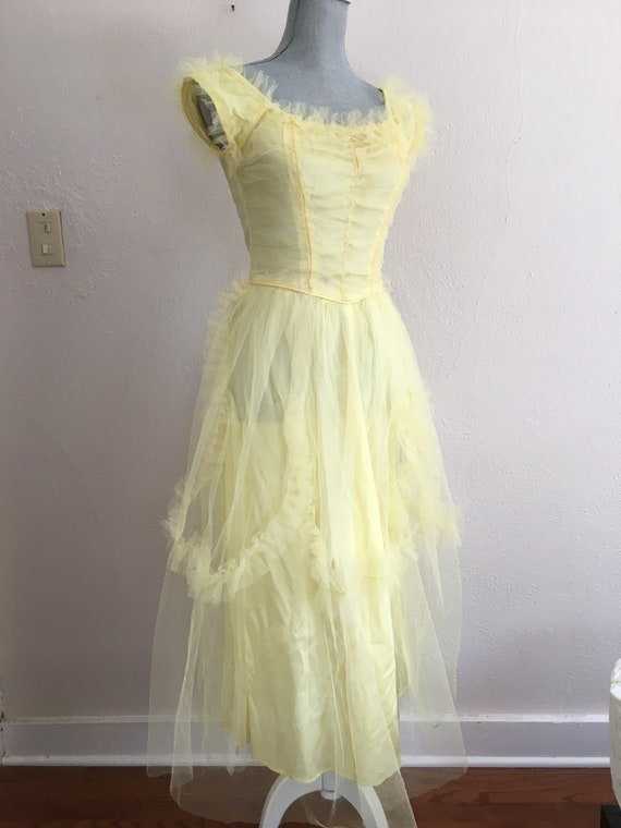 Vintage prom dress tulle 50's yellow lace XS