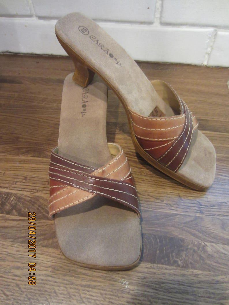 06d918c0c8b Cara Mia Slides Striped Leather Made in Brazil sz 6 1 2M