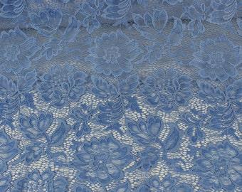 elastic lace metallic blue lace fabric stretch lace lace Glittering royal blue lace fabric