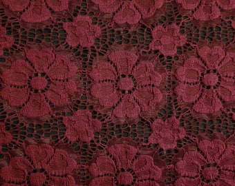 Burgundy Catherine Floral Stretch Lace Fabric by Yard - Style 646