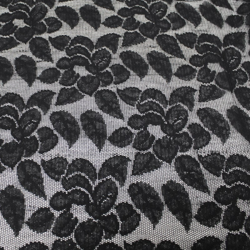 Black Petal Pattern Lace Fabric By The Yard Or Wholesale
