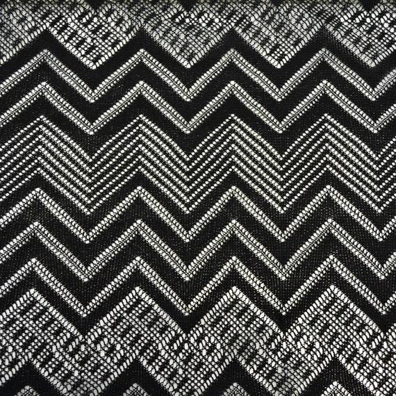 Missoni Fabric: Black Geometric Missoni Lace Fabric Pattern MISSONI 1 Yard
