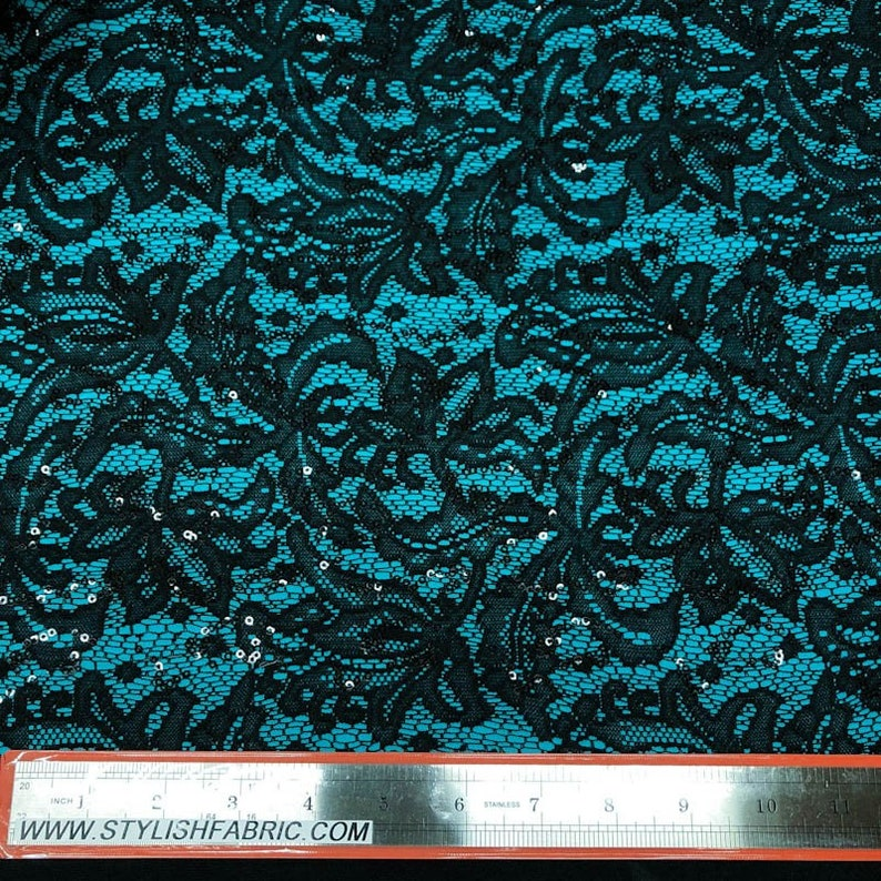 Ariana Black Sequins Floral Bonded Lace on Turquoise Interlock Lining Fabric Style 438