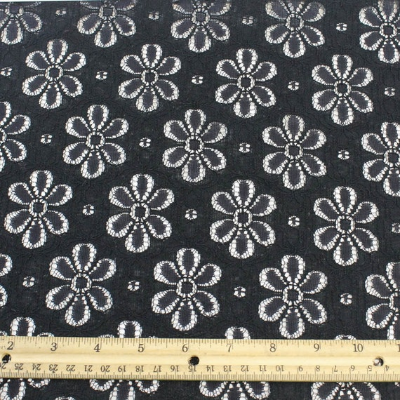 Black Nylon Cotton Eyelet Lace Fabric By The Yard Or