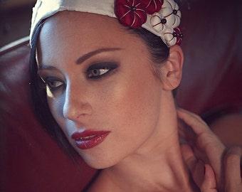 "White Red Silk Headpiece Silk Flowers Lace ""Fleurs de Cerisier"" Garnet  - Luxury Wedding"