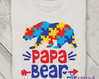 9ba0c020 Papa Bear Shirt, Autism Papa Bear, Proud Papa Bear Shirt, Autism Awareness  Shirt, Puzzle Piece Autism Awareness Papa Bear, Autism Shirt