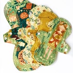 "Made to Order ORGANIC Firefly Set  Lucy and Mabs Curvy 10"" SET of Reusable mama cloth resuable pads"