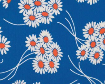 SALE Katie Jump Rope by Denyse Schmidt /Royal Daisy Bouquet in blue/quilting cotton Fabric Canada/ half yard