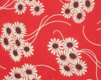 SALE Katie Jump Rope by Denyse Schmidt /Royal Daisy Bouquet in Red /quilting cotton Fabric Canada/ half yard