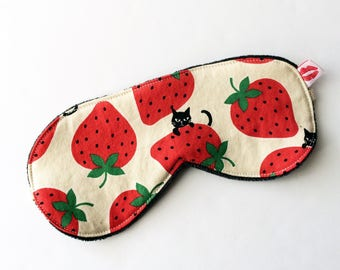 Lucy & Mabs Bamboo Velour Sleep Mask,  Strawberry Cat