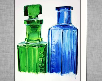 Green And Blue Bottles Greetings Card
