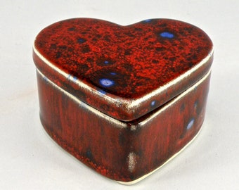 Heart shaped Trinket box , jewellery box , ceramic box