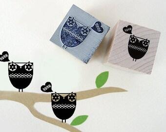 """Stamp Owl """"Hu Hu"""" 3 x 3 cm"""