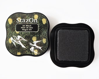 StazOn Stamp Pillow Jet Black, Stamp Pillow for Glass and Porcelain