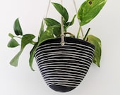 Black White Hanging Planter w quot Horizon quot Design - Hanging Pot with Carved Design - Succulent, Cactus, Herb, Air Plant, Etc - Housewarming