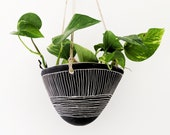 Black White Hanging Planter w quot Directional Line quot Design - Hanging Pot with Carvings - Succulent, Cactus, Herb, Air Plant - Housewarming