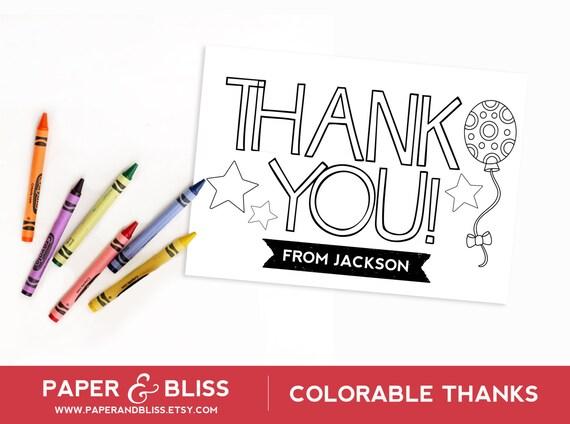 Tarjeta de gracias colorable globos personalizable | Etsy