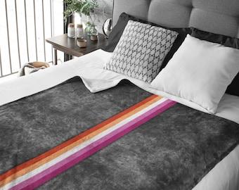 Grunge Lesbian Pride Flag Stripe Throw Blanket