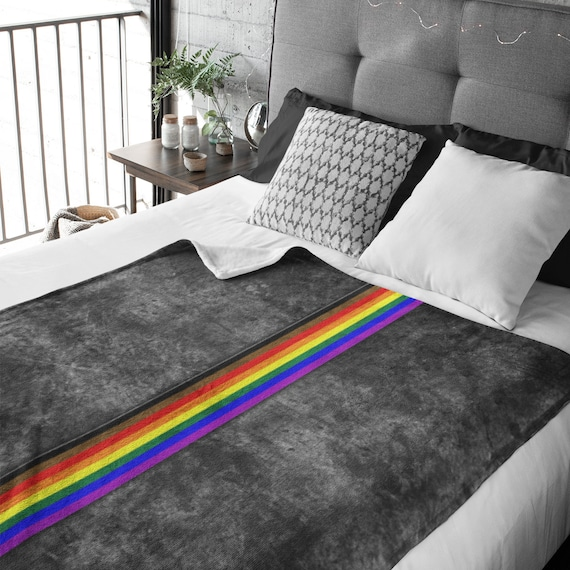 Grunge Inclusive Philly LGBTQ Pride Flag Stripe Throw Blanket