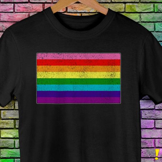 Distressed Original LGBT Gay Pride Flag Premium Unisex T-Shirt