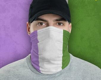 Genderqueer Pride Flag Neck Gaiter/Mask