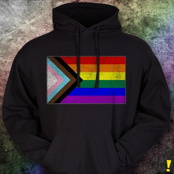 Distressed Progress LGBTQ Pride Flag Premium Hoodie