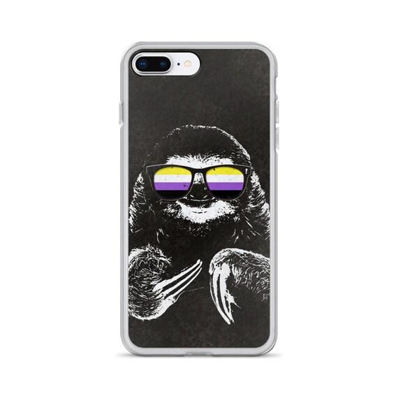 Pride Sloth Nonbinary Flag Sunglasses iPhone Case