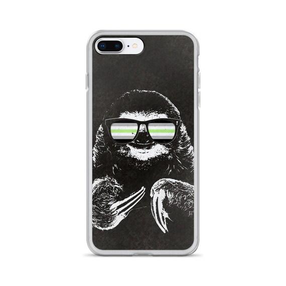 Pride Sloth Agender Flag Sunglasses iPhone Case