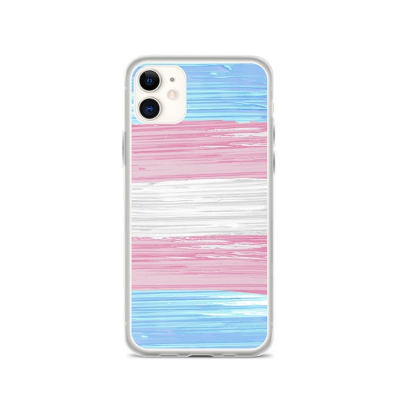 Transgender Pride Flag Paint Strokes iPhone Case
