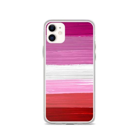 Lesbian Pride Flag Paint Strokes iPhone Case