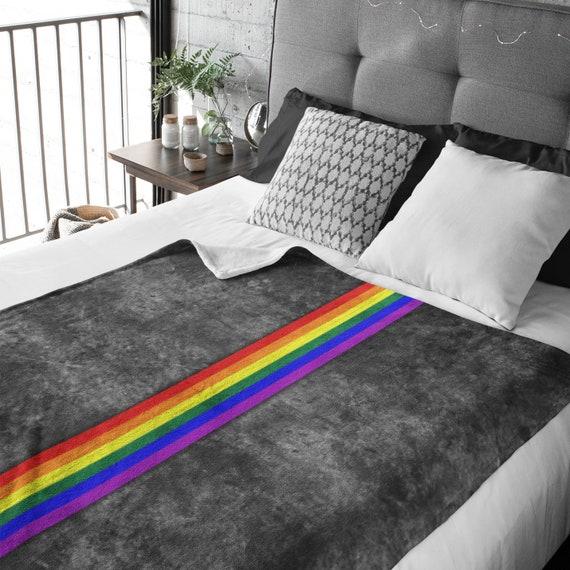 Grunge LGBTQ Pride Flag Stripe Throw Blanket