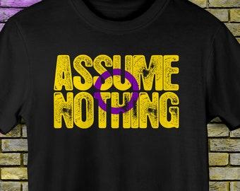 Intersex Pride Assume Nothing Premium Unisex T-Shirt