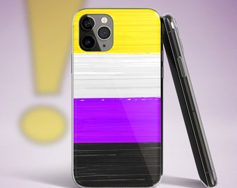 NonBinary Pride Flag Paint Strokes iPhone Case