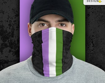 Genderqueer Pride Flag Stripe Neck Gaiter/Face Mask