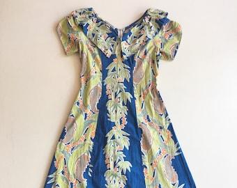 b7db598140ec GORGEOUS 1950s Nani Of Hawaii Tropical Floral Cotton Ruffle Maxi Dress S