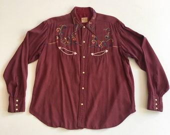 6cfe3103 1940s Rainbow Embroidered Burgundy Gabardine Western Shirt M