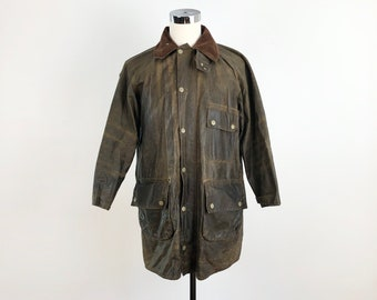 Late 1960s Barbour Brown Waxed Yellow Label Coat M