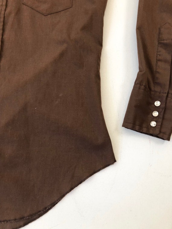 1970's Wrangler Brown Western Snap Shirt S - image 5