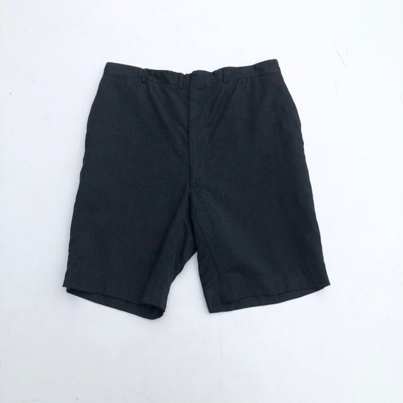 1950s Charcoal High Rise Wool Shorts 33""