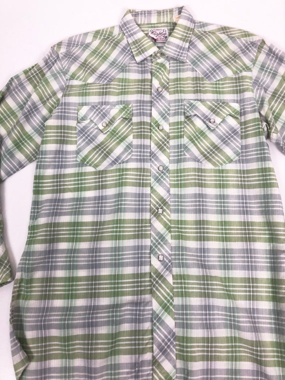 50's Ranchcraft Green Plaid Western Shirt S - image 6