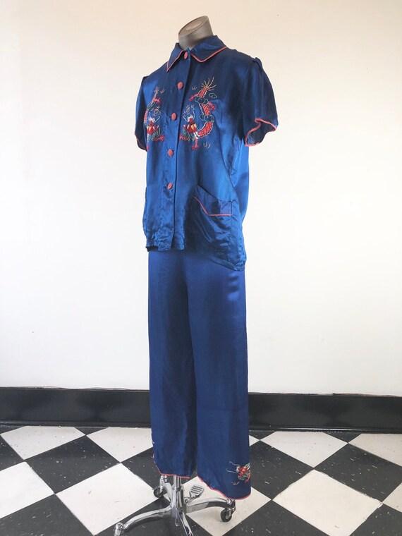 1930's Blue Silk Dragon Embroidered Pajamas S M