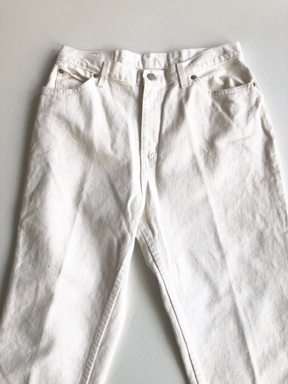 """1980s Faded Glory White High Rise Jeans 30"""" Waist - image 2"""