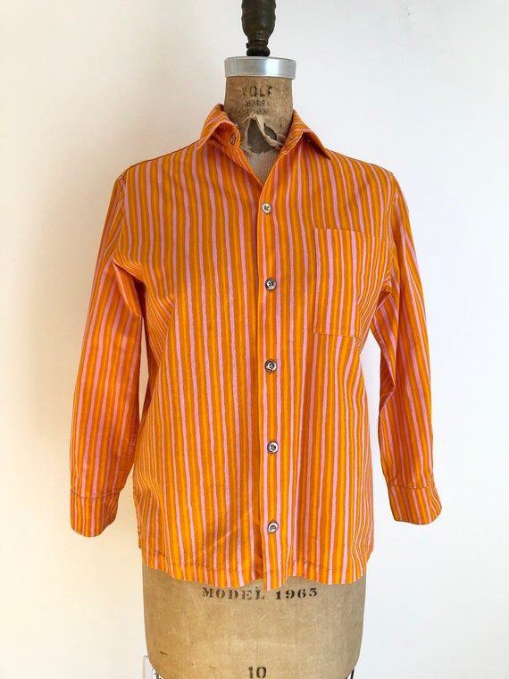 1960s Marimekko Design Research Orange Striped Cot
