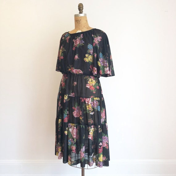 1970's Black Sheer Floral Flutter Sleeve Dress M