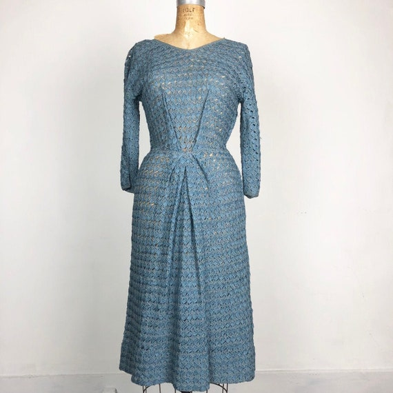 50s Blue Crocheted Ribbon Dress S