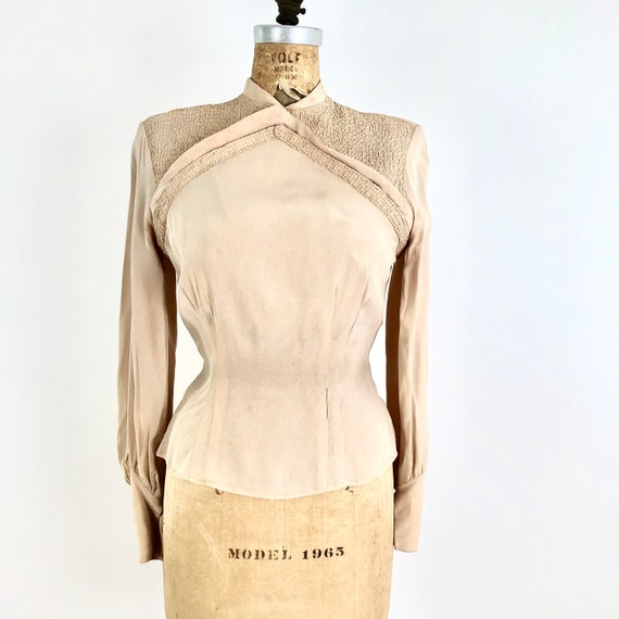 Fabulous 1940's Nude Rayon Smocked Blouse S