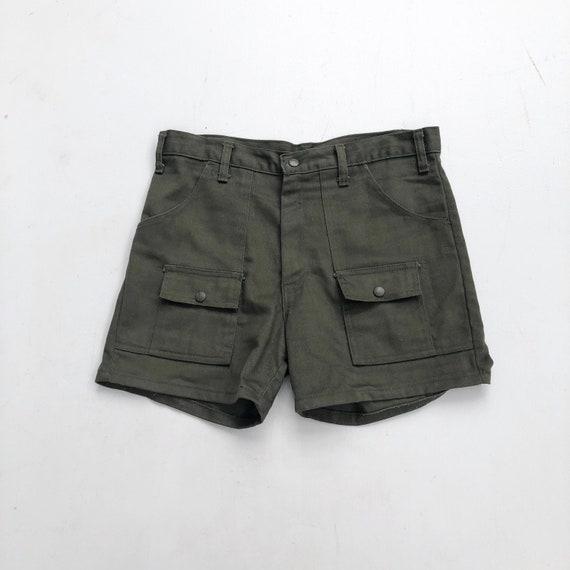 "1970s Green Twill Shorts 32"""