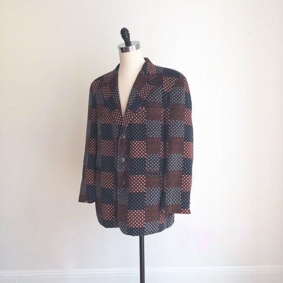 1970s Patchwork Print Velvet Dinner Jacket L