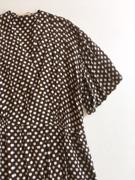 KILLER 1940s Brown Polka Dot Cold Rayon Dress M L - image 2