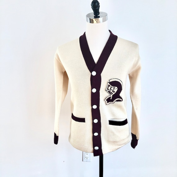 1950s Knight Spartan Patch Varsity Cardigan Sweat… - image 2